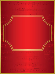 red vector background and gold frame with musical notes