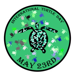 International turtle day stamp, label, vector illustration