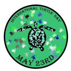 International turtle day stamp, label, vector illustration