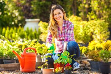 Woman in her garden.