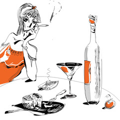 wine and glass illustration