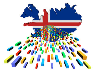 Iceland map flag with containers illustration