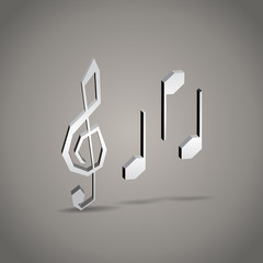 3d cartoon music notes with G clef
