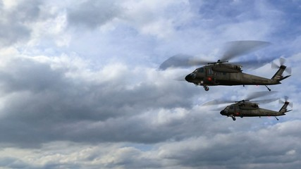 Black Hawk Helicopter Sikorsky UH-60 fly over in formation