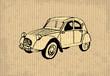 Old-timer - citroen 2 cv 1964, illustration on a cartboard - 64937122