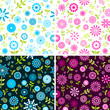 Blue and pink flowers set of seamless backgrounds