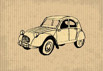 Old-timer - citroen 2 cv 1964, illustration on a cartboard