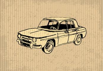 Old-timer - Renault 8 Gordini 1964, illustration on a cartboard