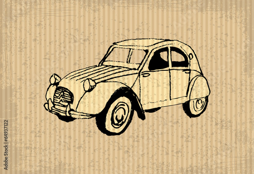 Old-timer - citroen 2 cv 1964, illustration on a cartboard - 64937122