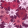 Seamless floral background hawaii inspired flowers in pink