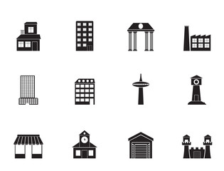Silhouette different kind of building and City icons