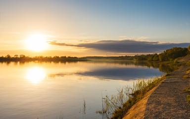beautiful sunset   river