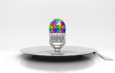 Uovo di metallo, cucina creativa