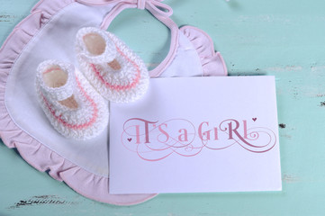 Baby girl nursery bib, booties and card, its a girl