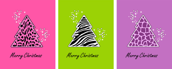 Animal print christmas trees - set of backgrounds