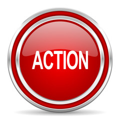 action red glossy icon