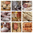 group of images from farmers market with italian sausages
