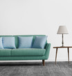 Elegant contemporary fresh interior with bluw sofa