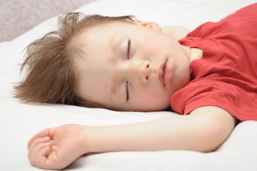 Boy sleeping and dreaming