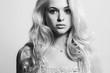 Monochrome Fashion portrait of young beautiful woman