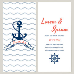 Nautical style wedding invitation