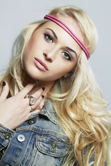 fashion beautiful girl in jeans.beauty blond woman.hippie style