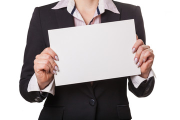 businesswoman showing blank