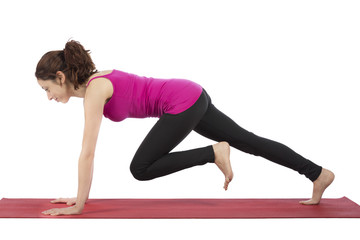 Fitness woman doing mountain climber pose