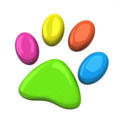 Colorful pet paw, 3d