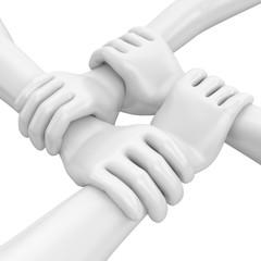 weisse Hände Zusammenhalt