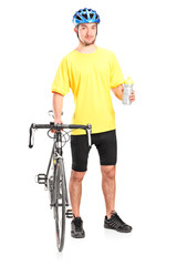 Male biker holding a water bottle