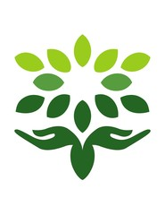 hand logo natural wellness tree health nature icon