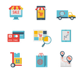 e-commerce symbols and internet shopping elements