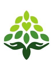 hand love logo natural wellness tree health leaf yoga