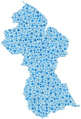 Map of Guyana in a mosaic of blue bubbles