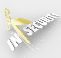 Insecurity Word Scissors Cutting Secure Safety Protection