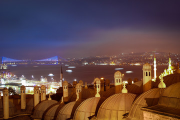 Night Bosphorus Strait, Galata Bridge and Bosphorus Bridge
