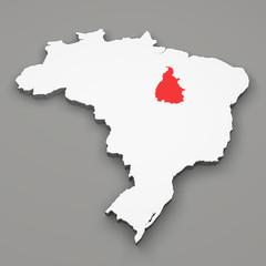 Mappa Brasile, divisione regioni, Tocantins