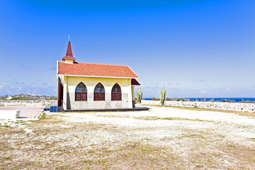 Alto Vista Chapel isolated on Aruba's north shore