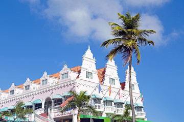 Typical dutch design architecture . Center square in Oranjestad