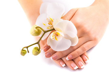 beautifulmanicure with white orchid on white