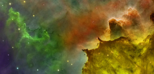 Colored clouds in Carina nebula.