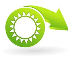 soleil sur web symbole vert