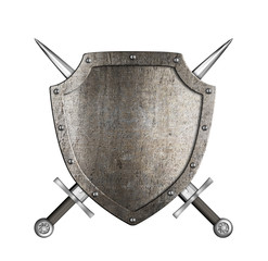knight metal shield with crossed swords isolated on white