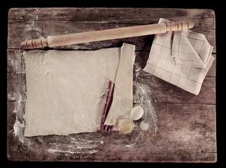Vintage cooking setup,homemade baking dough and ingredients