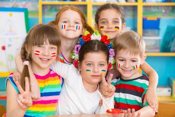 Happy children in language camp