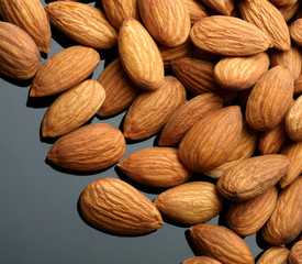 Almonds on black backgrond