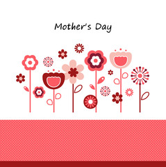 Greeting with flowers for Mother's Day isolated on white