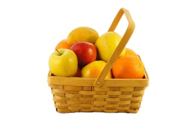 Wicked basket with fruits