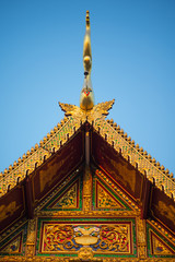 Roof gable temple in Thai style.